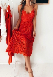 Women Sexy Hollow Lace Spaghetti Strap Midi Dress