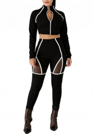 Women Sexy Front Zipper Long Sleeve Crop Tops And Mesh Pants Training Suit