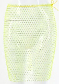 Women Sparkle Sexy Crystal Net Stretchy Hollow Out Mesh Skirt