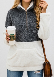 Women's Fuzzy Casual Loose Oversized Sweatshirt Hooded with Pockets