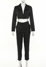 Women Fashion Solid Color Open Shrot Blazer And Long Pants 2 Piece Suit With Waist Tie