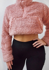 Women Fashion Fur Front Zipper Long Sleeve Crop Tops