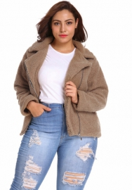 (Pre-Sale Plus Size Fur,Estimate Sent out within 3~6 work days) Women's Coat Casual Fleece Fuzzy Faux Shearling Fluffy Jackets Winter Long Sleeve Zip Up Outwear with Pockets XL-6XL