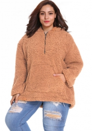 (Plus Size Fur,Estimate Sent out within 3~6 work days) Womens Long Sleeve Faux Fur Outwear Oblique Zipper Cowl Neck Fleece Pullover Sweatshirt Tops with Pocket