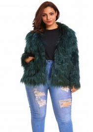 (Plus Size Fur,Estimate Sent out within 3~6 work days) Women Solid Color Winter Long Sleeve Faux Fur Coat Warm Parka Outwear Open Front Jacket