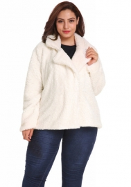 (Plus Size Fur,Estimate Sent out within 3~6 work days) Women's Long Sleeve Open Front Fuzzy Faux Fur Cardigan Coat Outwear