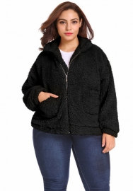 (Plus Size Fur,Estimate Sent out within 3~6 work days) Women's Faux Fur Coats,Winter Solid Lapel Turn Down Collar Slim Zipper Short Cropped Jackets Parkas Wool Coat for Women