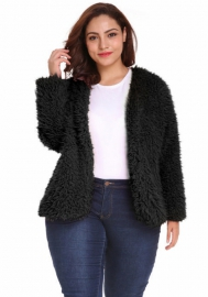 (Plus Size Fur,Estimate Sent out within 3~6 work days) Women Solid Color Long Sleeve Shaggy Lapel Fur Coat Short Jacket Outwear Warm Winter