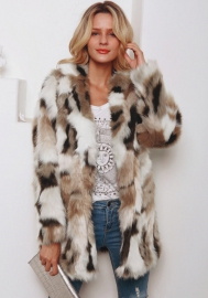 (Estimate Sent out within 3~6 work days) Women Multicolor Winter Long Sleeve Faux Fur Coat Warm Parka Outwear Open Front Jacket
