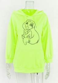 Women Fashion Cartoon Hoodie Long Sleeve Casual Dress