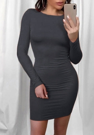 Women Fashion Round Neck Long Sleeve Slim Mini Dress