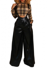 Women PU Overalls Wide Leg Pants Long Suspenders Trousers Black Jumpsuits Rompers