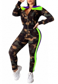 Women Fashion Camouflage Front Zipper Long Sleeve Jacket and Long Pants 2 Piece Suit