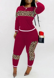 Women Fashion Round Neck Leopard Print Long Sleeve Tops And Long Pants 2 Piece Suit