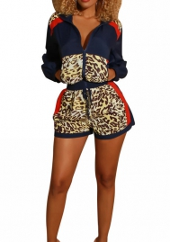 Women Fashion Leopard Print Front Zipper Long Sleeve Jacket and Short SLeeve 2 Pieces Suit