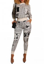 Women Fashion Print Newspaper Long Sleeve Round Neck Tops and Long Pants 2 Piece Suit