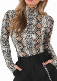 Women Sexy Print Snake Long Sleeve Bodysuit