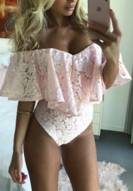 Women Sexy Lace Off Shoulder Bodysuit