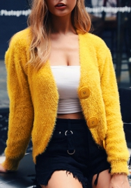 Women Fashion Fur Front Single Button Long Sleeve Tops