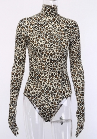 Women Fashion Print Leopard High Neck Long Sleeve Bodycon Bodysuit