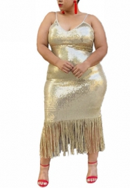 Women Sexy Plus Size Sequins Strap Bottom Tassel Midi Dress