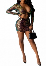 Women Sexy Black Tassel Sequin Long Sleeve Vest and Mini Skirt 2 Piece Suit