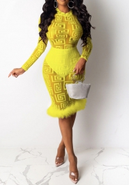 Women Sexy Mesh See Through Long Sleeve Bottom Flocking Midi Dress