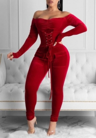Women Fashion Velvet Off Shoulder Lace Up Corset Jumpsuit