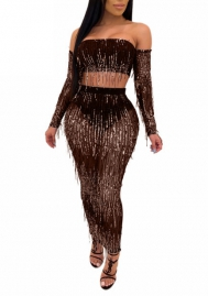 Women Fashion Sequin Tassel Long Sleeve Tube Tops and Maxi Skirt 2 Piece  Suit