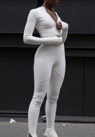 Women Fashion Solid Color Front Zipper Long Sleeve Bodycon Workout Jumpsuit