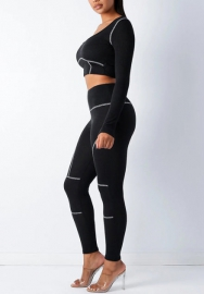 Women Fashion Long Sleeve Workout Crop Tops and Long Pants Tracksuit Suit