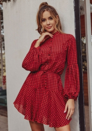 Women Fashion Plaid Long Sleeve Front Button Shirt Dress
