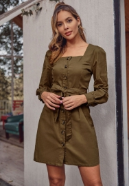 Women Fashion  Solid Color Front Button Long Sleeve Mini Dress