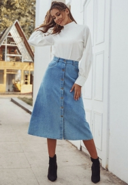 Women Fashion Front Button Blue Jeans Maxi Skirts