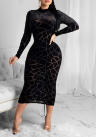 Women Fashion Plus Size Mesh Striped Black Long Sleeve Midi Dress
