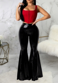Women Fashion Bright Color Bottom Flare Long Pants