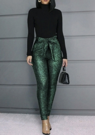 Women Fashion Green Glitter Waist Big Bow Long Pants