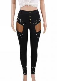 Women Fashion Cut Out Pearl Long Pants