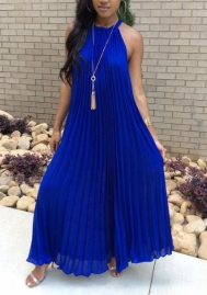 Women Fashion Solid Color Halyer Hem Evening Dress Maxi Dress