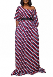 Women Fashion Striped Midi Sleeve Hem Maxi Dress