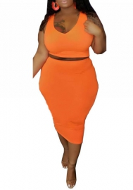 Plus Size Women Fashion Strap Solid Color 2 Piece Suit Dress