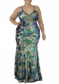 Plus Size Women Fashion Strap Green Floral Sequins Evening Dress