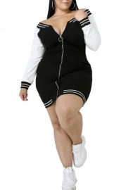 Plus Size Women Fashion Front Zipper Long Sleeve Baseball Uniform Dress
