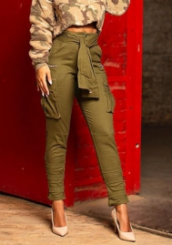 Women Fashion Army Big Packet Long Pants with Waist Tie