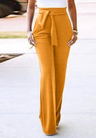 Women Fashion Solid Color Loose Long Pants with Waist Tie