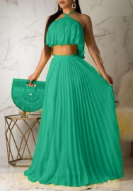 Women Fashion Chiffon Halter Crop Tops and Ruffle Maxi Skirts 2 Piece Suit Evening Dress
