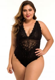 Women Sexy Plus Size Lingerie Babydoll Front Slit Lace Mesh Chemise Sleepwear
