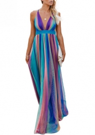 (Pre-Sale)Women Fahsion Strap V Neck Colorful Chiffon Maxi Dress