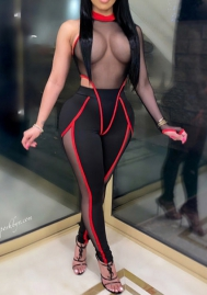 Women Sexy Front Mesh See Through Bodycon Jumpsuit