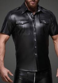 Men Leather Short Sleeve Tops